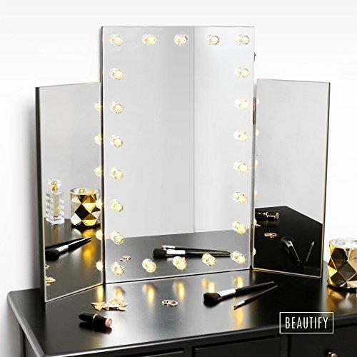 Beautify LED Spiegel für Den Schminktisch – 3-Teiliger klappbarer Kosmetikspiegel – Hollywood...