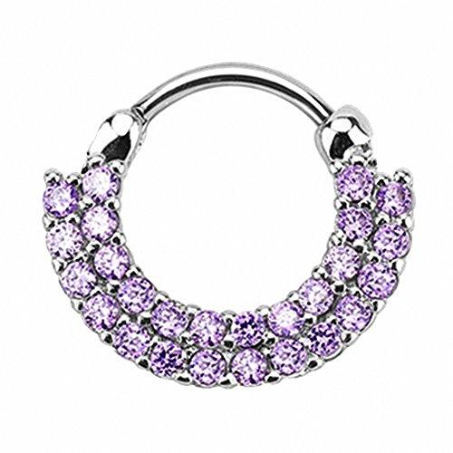 Piercingfaktor Universal Piercing Septum auch für Tragus Helix Ohr Nase Lippe Brust Intim - Schild Clicker Ring mit Kristall Silber Tanzanite Lila