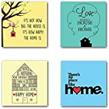 YaYa Cafe Cute Birds Happy Home Wooden Tea Coasters For Drinks Dining Table Set Of 4
