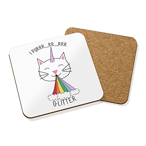 caticorn-je-Purr-paillettes-Dessous-de-verre-en-lige-Tapis-Carr-Set-x4-Chat-Unicorn
