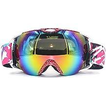VILISUN Gafas de Esquí de Snowboard Gafas Ski (Lente de dual capa Anti-Niebla, 100% UV400 protección, marco doblable, correa antideslizante, 3 capas de espuma cómodas ajustables,resistente al viento),Gafas de Nieve,gafas de patín