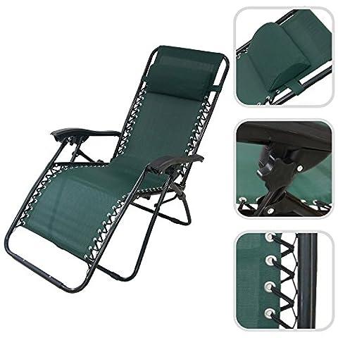 Todeco - Zero Gravity Foldable Chair, Garden Textilene Relaxer - Maximum load: 100 kg - Material: Textilene - 65 x 44 x 25.6 inch, Green, Textilene, with Pillow