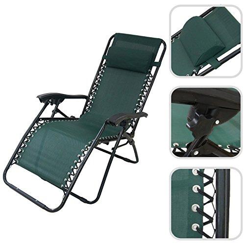 Todeco - Chaise Longue Inclinable, Transat en Textilène de Jardin - Charge maximale: 100 kg - Matériau: Textilène - 165 x 112 x 65 cm, Vert Coussin