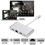 TianranRT USB C an HDMI 4K + RJ45 LAN Netzwerk + USB 3.0 + Typ C Adapter Konverter AC1403