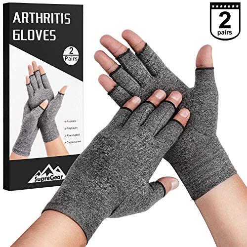 SupreGear Arthritis-Handschuhe, 2 Paar, rheumatische Arthritis Kompressionshandschuhe für Arthritis Hände, Schmerzlinderung, Gaming Tippen, fingerlose Handschuhe für Männer und Frauen -
