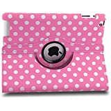 360 ROTATING FLIP LEATHER CASE COVER FOR THE NEW IPAD MINI (Pink Polka)