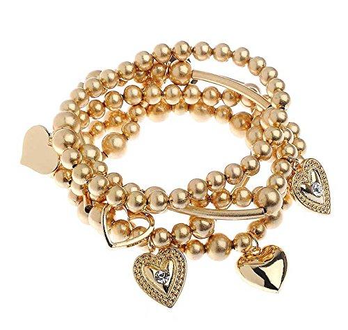 Kostüm Schmuck: Layered Herz Charme Stretch Armband in Gold (Kostüm Charme Armbänder)