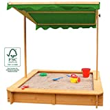 Sandkasten mit Dach absenkbar Buddelkasten Abdeckung Holz FSC, UV-Schutz