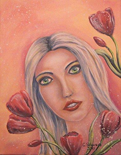 Acrylgemälde TULIP GIRL 40cm x 50cm