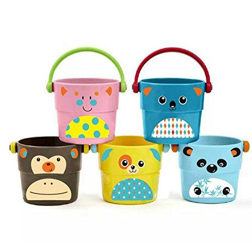 Isuper Baby Badespielzeug, 5er Pack Badeeimer Baby Badewanne Spielzeug Kleine Stapeln Dusche Eimer Cartoon Lustiges Bade Spielzeug für Badespaß