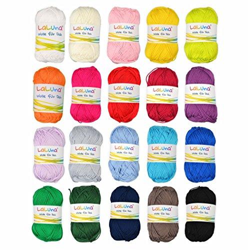 Creleo 792462 Wollpaket Basic Wolle 20 Knäuel a 50g 100% Baumwolle