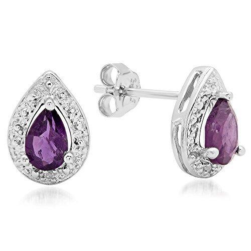1,05Karat (ctw) Sterling Silber Amethyst violett & weiß Diamant Akzente Damen Ohrstecker 1CT (Traditionelle Akzente)