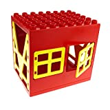 1 x Lego Duplo Gebäude Stall rot gelb 6x8x6 gross Zoo Bauernhof Haus Puppenhaus mit Fenster Tür Tor Gatter 2206 2293 2201