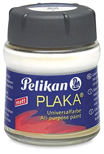 Pelikan 101006 - Bastelfarbe Plaka, Glas Ton 1, 50 ml, weiß