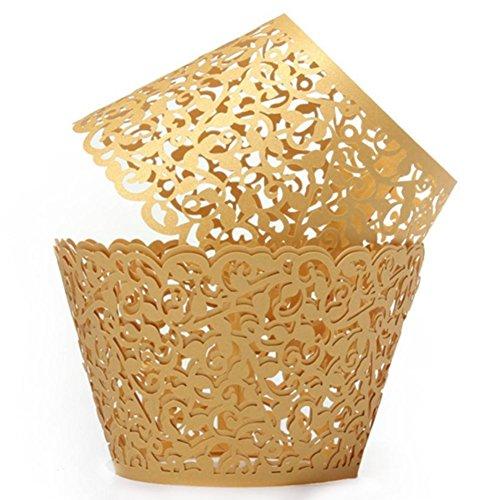 er Cup Periphere Dekoration Cupcake Lace Wrap Cupcake Wrappers DIY Bakery Papier Periphere Laser Halter Spitze Periphere Dekoration ohne Boden Hochzeit Geburtstag Party, Papier, gold, m (Gold Cupcake-halter)