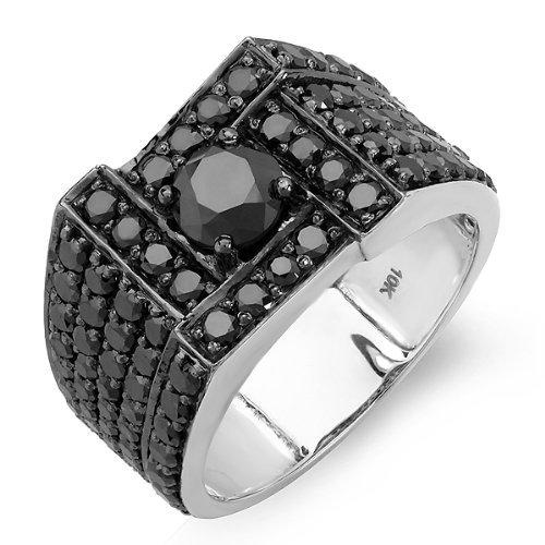 dazzlingrock 10K Weiß Gold Runde Schwarz Diamant Herren Ring 5,00cttw, schwarz Farbe, VS Reinheit) (10k Weißes Gold Schwarzer Diamant Ring)