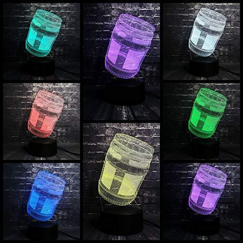 7 Farbwechsel 3D LED Nachtlicht Spiel Von Prop Krug Raum Tisch Dekor USB Remote Base Geburtstag Kind Geschenk (Halloween Spiele Dekor Raum)