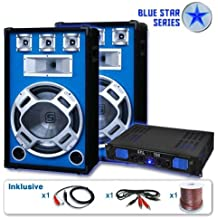 SYKTEC DJ set Blue Star impianto audio completo (2 casse SKYTEC diffusori 2000 Watt max, 1 amplificatore SKYTEC finale di potenza, cavi per collegamento)