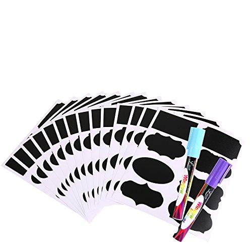 Afufu Etiquetas de Pizarra Reutilizables Impermeables 112 Unidades con 2 Marcadores de Tiza para Etiquetar Tarros de Masón, Despensa, Salas de Manualidades y Armarios – Organiza Tu Togar y Oficina