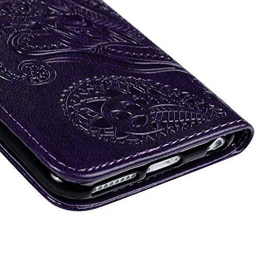 """YOKIRIN Wallet Case für iPhone 6 Plus/6S Plus (5.5"""") Prägung Blumen PU Leder Flipcase Schutzhülle Case Buch Ledercover Handyhülle Taschen Brieftasche Skin Schale mit Kreditkarteninhaber Kippständer Ma Purple"""