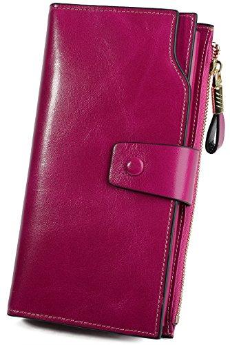 Yaluxe Donna grande capacità lusso cera vera pelle Portafoglio con tasca con zip(confezioni regalo) caffèmarrone rosa