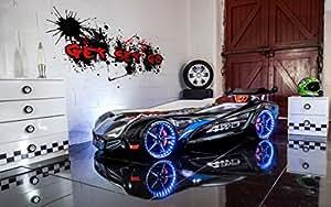 Lit voiture de course-MVN TURBO Supercar-lit 3 LED-Noir-bruit pour enfant Lits pour garçon