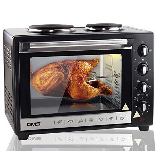 DMS® 48L Mini-Backofen mit Kochplatten Drehspieß Umluft Pizzaofen Ofen, Backofen mit Innenbeleuchtung, Timer 3600 Watt herausnehmbares Krümelblech OCRH-48D