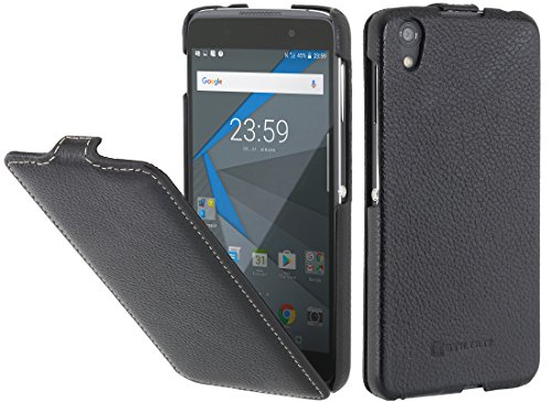 StilGut UltraSlim Case Hülle Leder-Tasche für BlackBerry DTEK 50. Dünnes 360 Grad Flip-Case vertikal klappbar aus Echtleder für Das Original BlackBerry DTEK50, Schwarz