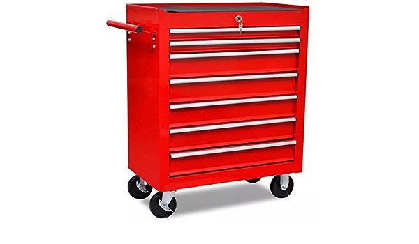 mewmewcat Workshop Tool Trolley 7 Drawers Tools Tray with Wheel Lockable Red 690 x 330 x 772 mm Steel