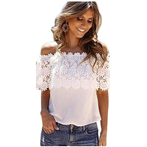 Vovotrade® Femme Dentelle Mousseline Crochet Hauts Chemise Élégant Sans Manche Shirts Blanc