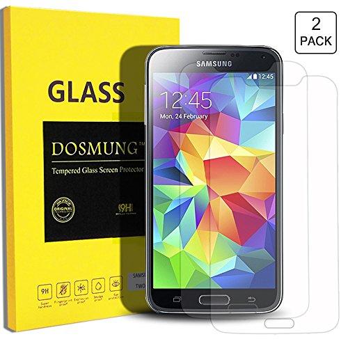 Panzerglas Schutzfolie Samsung Galaxy S5-DOSMUNG Panzerglasfolie Samsung S5, 2 Stück, 9H Härtegrad - Schutz vor Wasser, Staub, Kratzern und Blasefrei-Utra Klar Glatt-Hohe Qualität und Feine Verarbeitung