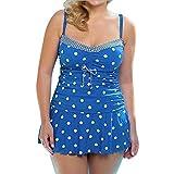 Dorical Tankini Set Damen Frauen Sprotlich Bandeau Bademode Bikini Badeanzug Große Größen Oversize Sprotlich Freizeit Badeanzüge mit Hotpants mit Polka Dot Printing(Blau,X-Large)