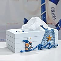 Bluelover Stile scatola scatole tovagliolo di carta velina Mediterraneo blu e bianco - uccelli (Tovagliolo Di Uccello A Mano)