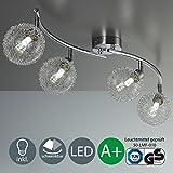 Lampada da soffitto LED ORIENTABILE incluso 4X 3,5W lampadine G9con moderne palle di vetro IP20Lampada da soffitto soggiorno lampada per bambini 230V Bianco caldo vetro in metallo cromato EEK A + + 4X 320lm a 4luci