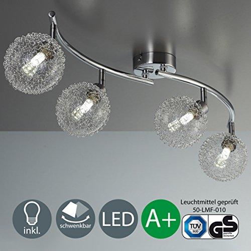 Làmpara de techo LED - LED Focos - de techo - Làmpara de techo LED para salòn - barra de cuatro focos con LED G9 de 3,5 W de potencia y 320 lùmenes - en color cromado