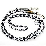 Taumur: zweifach verstellbare Hunde-Tauleine - grau/schwarz/weiß - Leine für mittelgroße Hunde aus robustem PPM