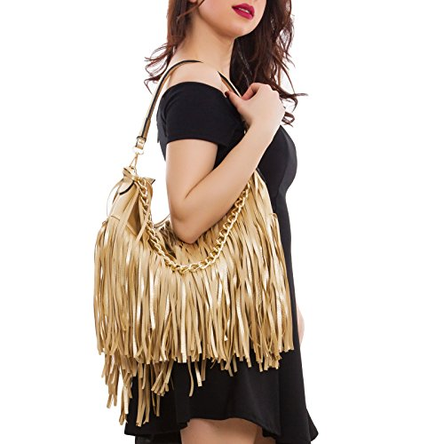Toocool - Borsa donna a spalla frange catena dorata manico zip hobo bag nuova C2800 Oro