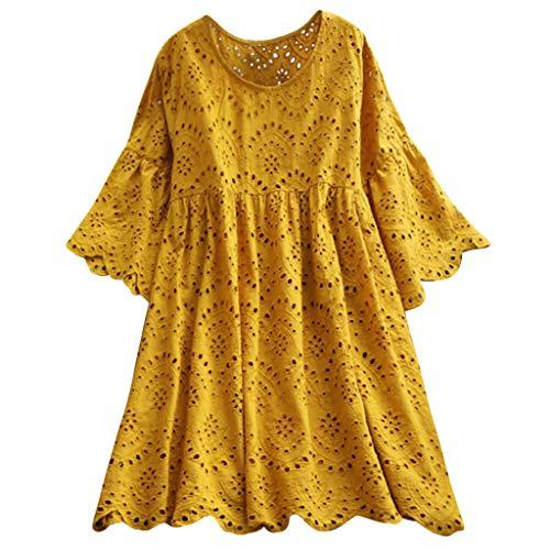 Tohole Boho Abend Party Cocktail Kleid Damen Minikleid Sommerkleid Strandkleid Tunika V-Ausschnitt Lose T-Shirt Hippie T-Shirt Top Hohl für Damen (Gelb,2XL)
