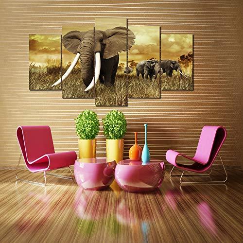 JSBVM Moderno Impreso Póster Mural Modular 5 Paneles África Elefantes Paisaje Imágenes...