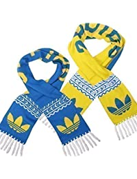 Adidas Knitted Scarf Wende Schal Reversible Trefoil Blue / Yellow