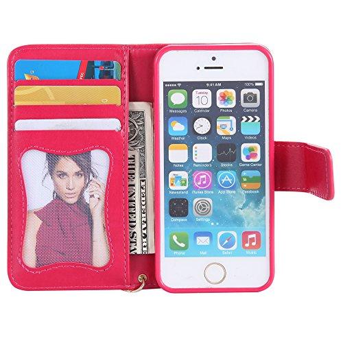 UKDANDANWEI Apple iPhone 5s Case, noctilucent modèle Etui Supporter Flip PU Cuir Pochette Portefeuille Housse Coque avec Crédit Carte Tenant Fente pour Apple iPhone 5s - Brun Rouge