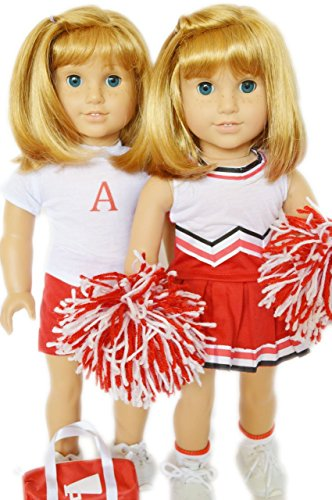 Preisvergleich Produktbild RED CHEERLEADING OUTFIT AND PRACTICE SET FOR AMERICAN GIRL DOLLS