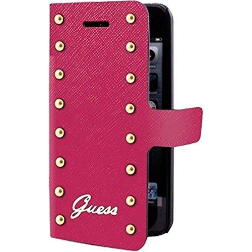 Guess-Custodia a Libro della Collezione borchiata, per iPhone 5/5S, Motivo: Pink_spig9
