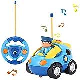 FPVRC Voiture Télécommandée RC Camion de Police/Course Jouet pour les Bébés et les Enfants (Bleu)