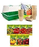 mgc24® Zimmergewächshaus Greenhouse - Anzuchtschale mit Deckel und Belüftung - Komplettset mit 24 Torftöpfen + 2,5l Anzuchterde + 7 Sorten Tomatensamen