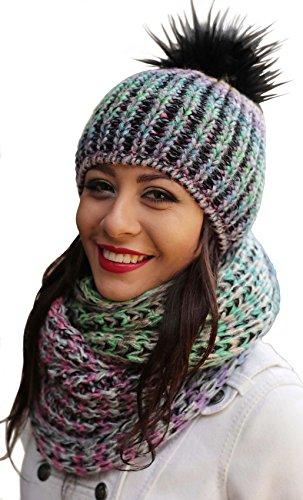 Damen Strickmütze & Loop mit großer Kombiset Kunstfell Bommel Strickset Beanie mit Fellbommel + Schlauchschal, Einheitsgröße K3 (Multicolor)