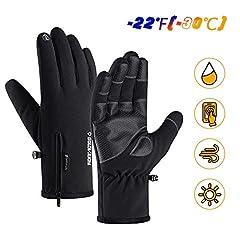 Idea Regalo - Guanti da Sci Uomo Impermeabile Full Finger Touchscreen Guanti Termici Invernali Grandrelle (-22 ℉ (-30 ℃) per Sci Moto Ciclismo Arrampicata Escursionismo Caccia Sport Outdoor Guanti da Sci (L)