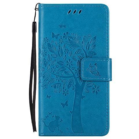Huawei Ascend P7 Hülle Blau im Retro Wallet Design,Cozy Hut