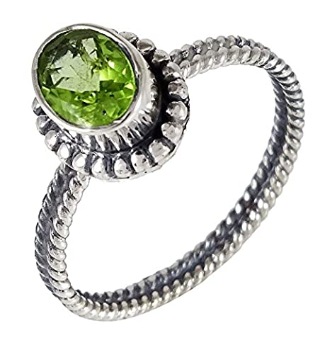 Banithani 925 Solid Silver Indian Women Handcrafted Peridot Stone Ring Jewellery