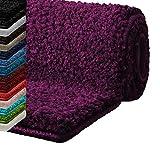 Badematte Hochflor Sky Soft | Weicher, flauschiger Badezimmerteppich in Shaggy-Optik | Badvorleger rutschfest waschbar | Öko-Tex 100 zertifiziert | 16 Farben in 6 Größen (80x150 cm, bordeaux)
